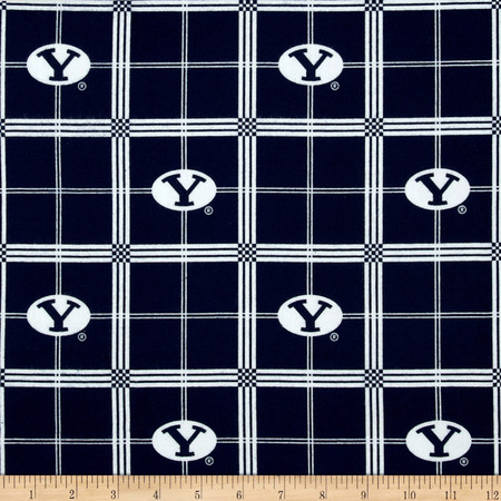 Collegiate Cotton Flannel Brigham Young University Plaid Blue Fabric By The Yard