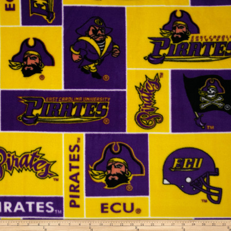 Collegiate Fleece East Carolina University Purple Fabric By The Yard