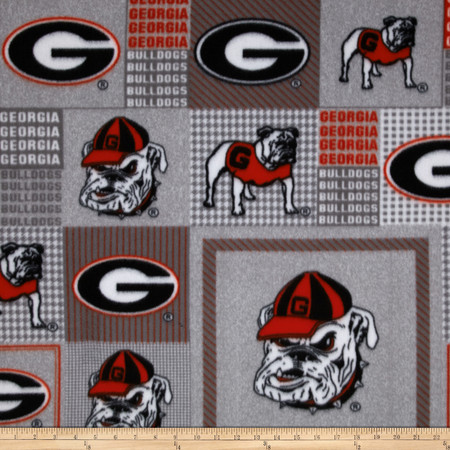 Collegiate Fleece University of Georgia Red/Black Fabric By The Yard