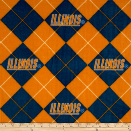 Collegiate Fleece University of Illinois Blue Fabric