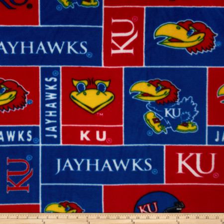 Collegiate Fleece University of Kansas Fabric By The Yard