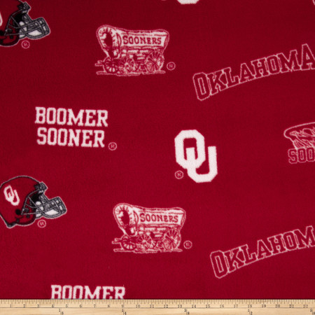Collegiate Fleece University of Oklahoma Allover Crimson Fabric By The Yard