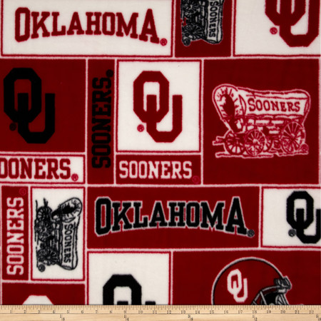 Collegiate Fleece University of Oklahoma Collage Red/White Fabric By The Yard
