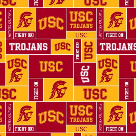 Collegiate Fleece University of Southern California Blocks Red/Gold Fabric By The Yard