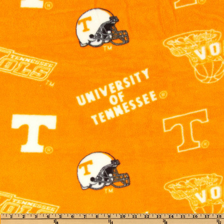 Collegiate Fleece University of Tennessee Tossed Orange/White Fabric By The Yard