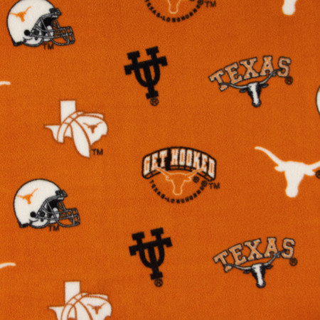 Collegiate Fleece University of Texas Tossed Orange/Black Fabric By The Yard