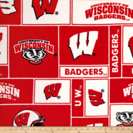 Collegiate Fleece University of Wisconsin Fabric By The Yard