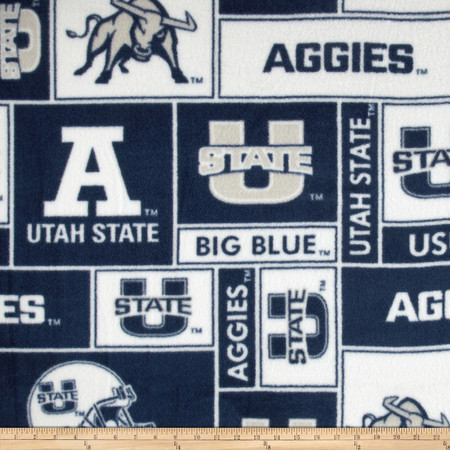 Collegiate Fleece Utah State University Allover Fabric By The Yard
