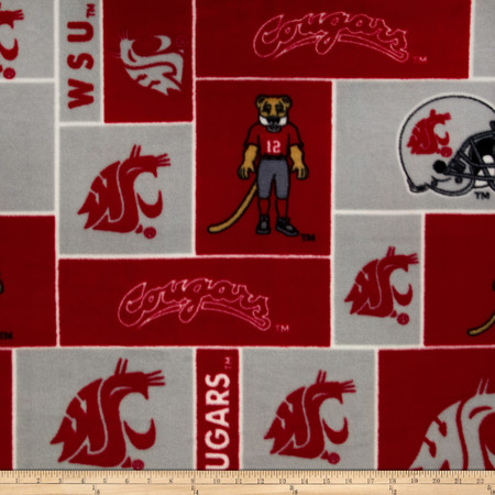 Collegiate Fleece Washington State University Crimson Fabric By The Yard