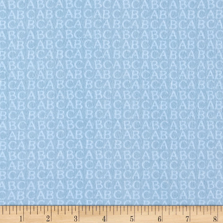Comfy Flannel Alphabet Blue Fabric