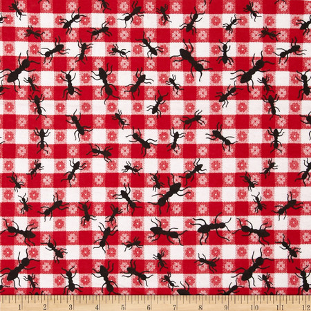 Comfy Flannel Ants Red Fabric