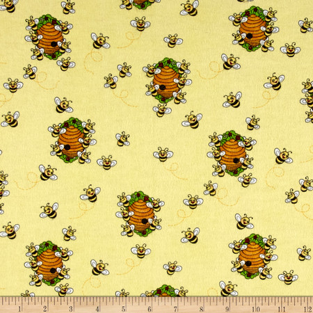 Comfy Flannel Bee Hive Yellow Fabric