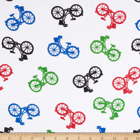 Comfy Flannel Bicycles White Fabric