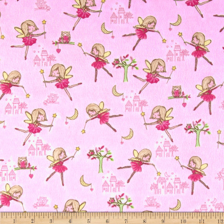 Comfy Flannel Fairy Princess Pink Fabric