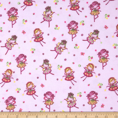 Comfy Flannel Flower Fairy Pink Fabric