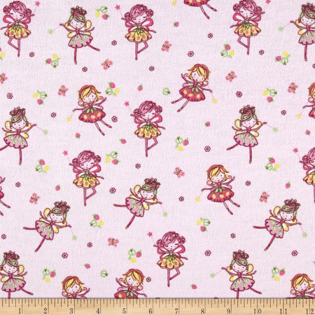 Comfy Flannel Flying Fairies Pink Fabric