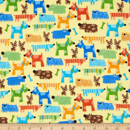 Comfy Flannel Funky Dogs Yellow Fabric