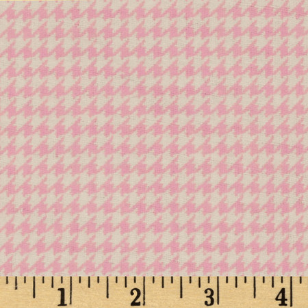 Comfy Flannel Houndstooth Pink Fabric By The Yard