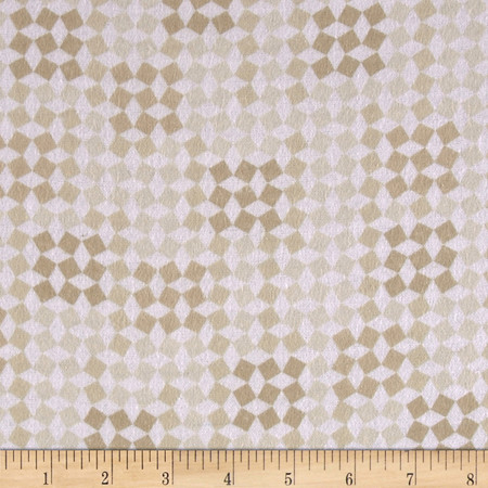 Comfy Flannel Jumping Geometric Beige Fabric
