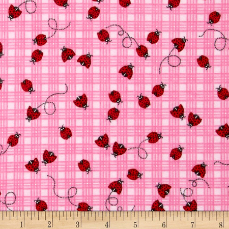 Comfy Flannel Ladybugs Plaid Pink Fabric