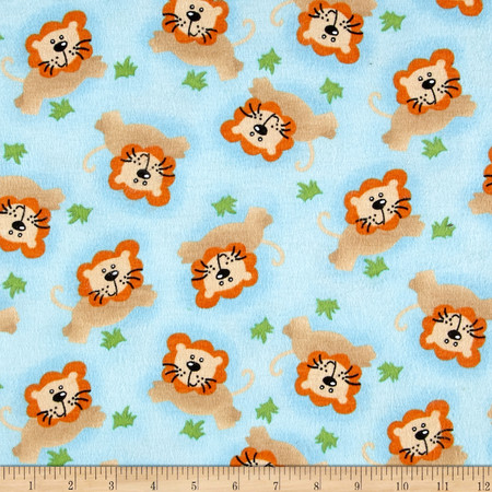 Comfy Flannel Lions Blue Fabric