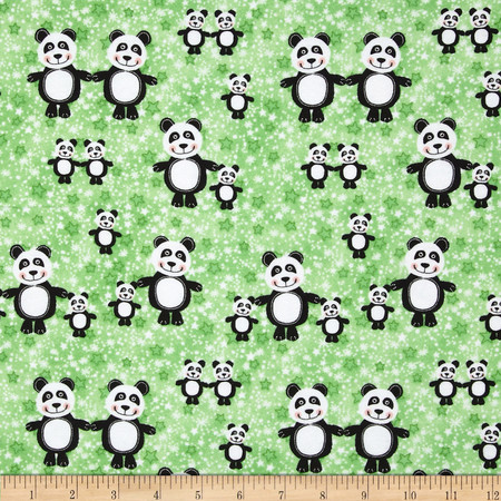 Comfy Flannel Panda Bears Green Fabric