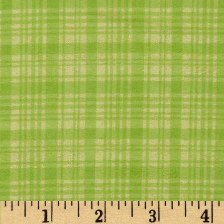 Comfy Flannel Plaid Tone on Tone Green Fabric