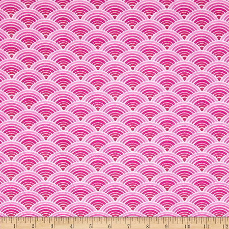 Comfy Flannel Scallops Pink Fabric