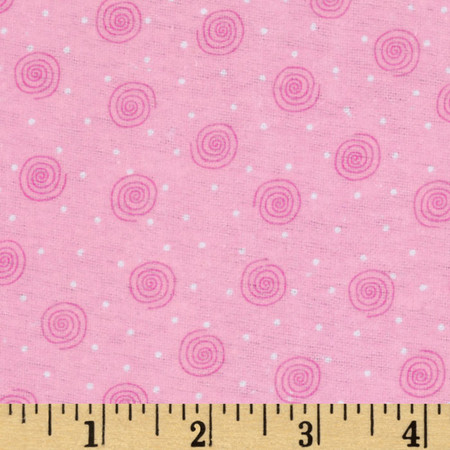 Comfy Flannel Swirl Pink Fabric By The Yard