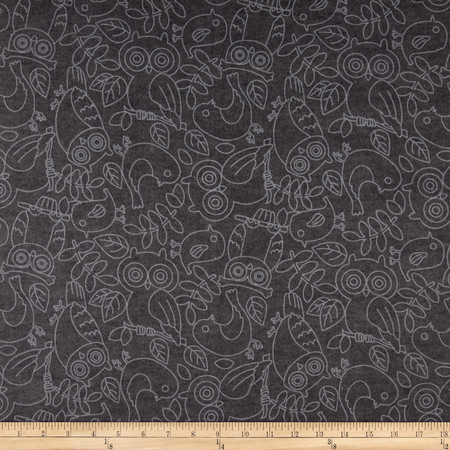 Comfy Flannel Tonal Birds Gray Fabric