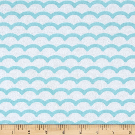 Comfy Flannel Waves White/Blue Fabric