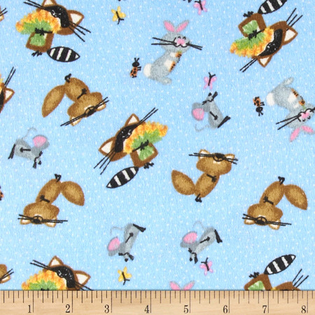 Comfy Flannel Woodland Animals Fabric