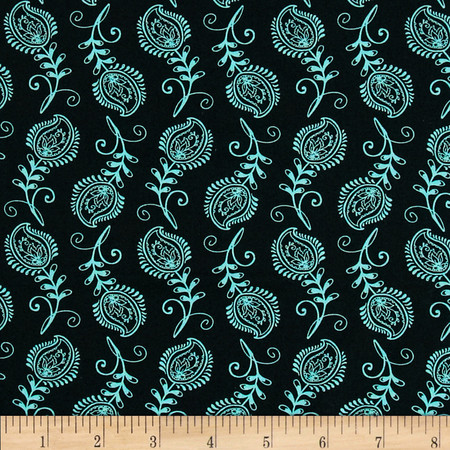 Contempo Feathers Black/Aqua Fabric By The Yard