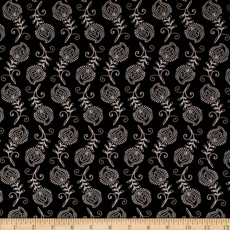 Contempo Feathers Black/Grey Fabric By The Yard