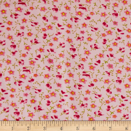 Corduroy Flowers Pink Fabric By The Yard