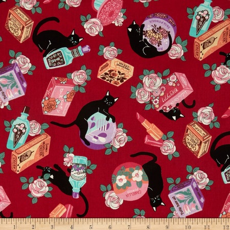 Cosmo Black Cat II Pampered Cats Red Fabric By The Yard