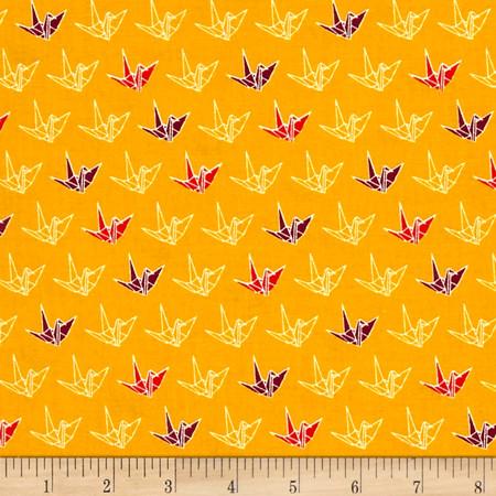 Cosmo Sakura II Origami Gold Fabric By The Yard