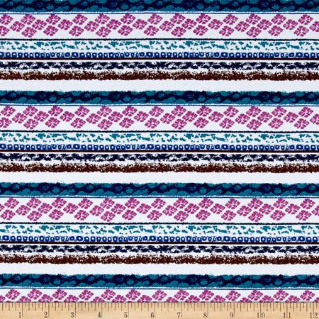 Cotton Lycra Spandex Jersey Knit Bohemeian Print Brown Fabric By The Yard