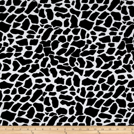 Cotton Lycra Spandex Jersey Knit Cow Print Black/White Fabric By The Yard