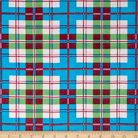 Cotton Plaid Shirting Blue/Green Fabric