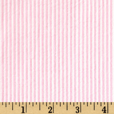 Cotton Seersucker Stripe Pink/White Fabric By The Yard