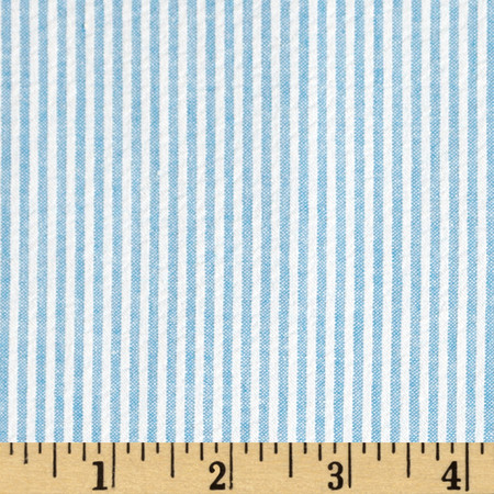 Cotton Seersucker Stripe Turquoise/White Fabric By The Yard