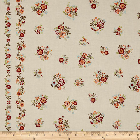 Cotton Shirting Folklore Double Border Cream Fabric By The Yard
