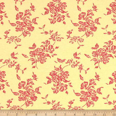 Cotton Stretch Jersey Knit Wild Flowers Yellow/Pink Fabric