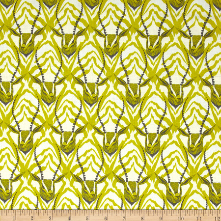 Cotton + Steel August Gazelle Lime Fabric By The Yard