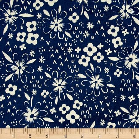 Cotton + Steel Bluebird Fox Tracks Blue Fabric By The Yard