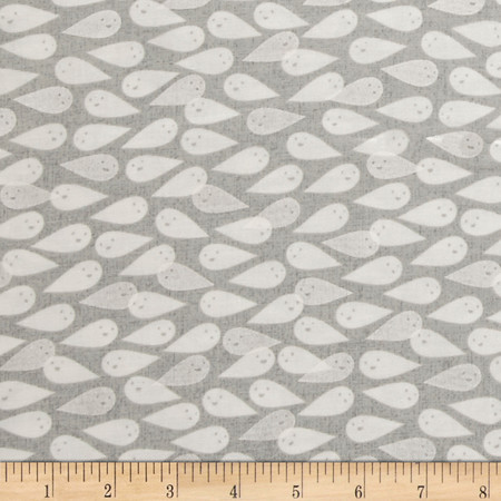Cotton + Steel Boo Ghosties Natural Pearlescent Fabric By The Yard