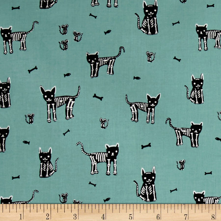 Cotton + Steel Boo My Pet Skeleton Teal Fabric By The Yard