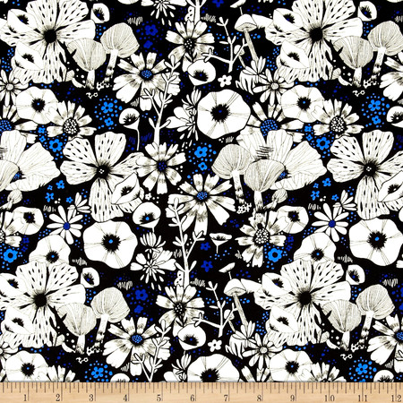 Cotton & Steel Cat Lady Rayon Challis Hiding Spot Black Fabric