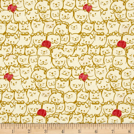 Cotton + Steel Cat Lady Stack O Cats Mustard Fabric By The Yard